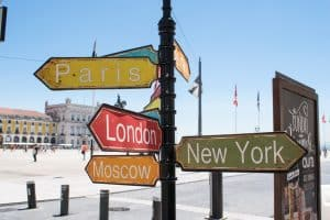 Sign with London, New York, Moscow