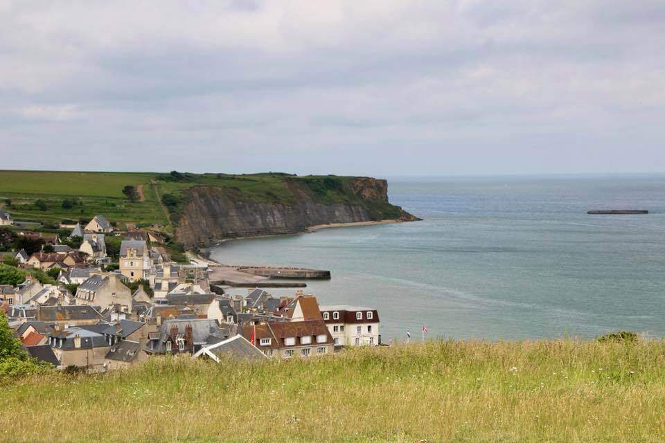 View from the cliffs down to Arromanches