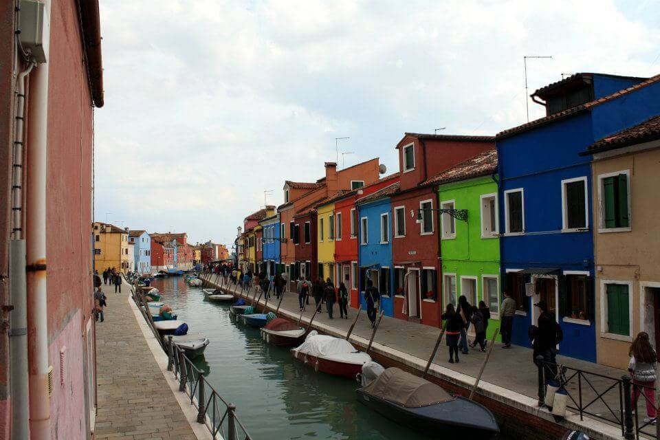 Colored homes that line the canals in Burano