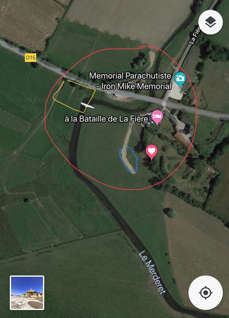 Google map image of the Iron Mike jump zone in Normandy