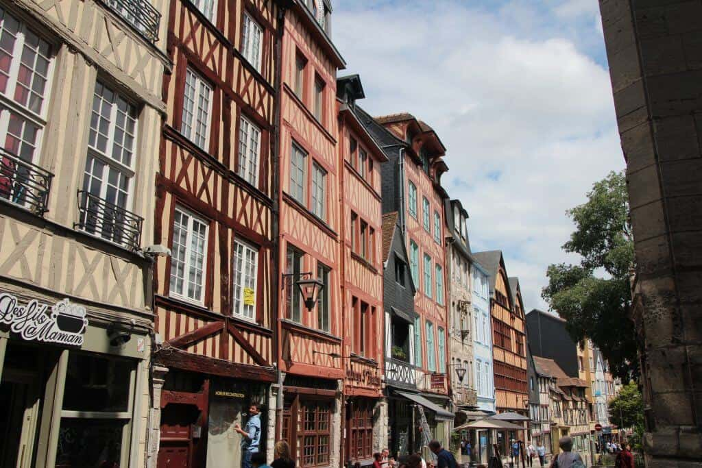 Half timbered buildings in Rouen, France