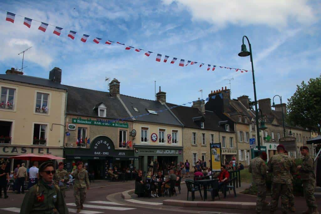 Enjoying the festivities in St. Mere Eglise for the D-day celebrations.