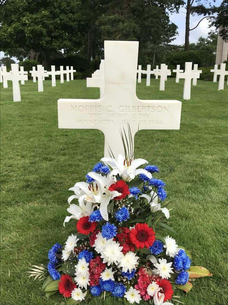 Grave site in the American Cemetery in Normandy