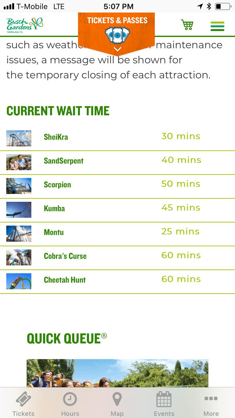 Busch Gardens app showing ride times.