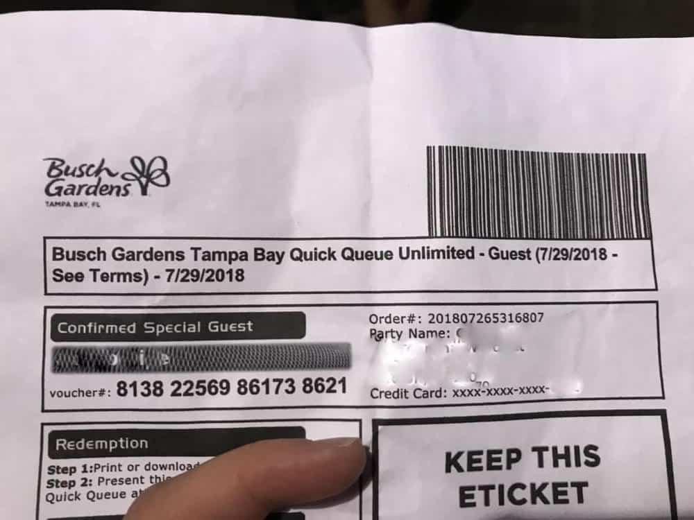 Quick Queue Busch Gardens pass