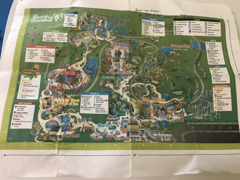 Busch Gardens Tampa map with notes