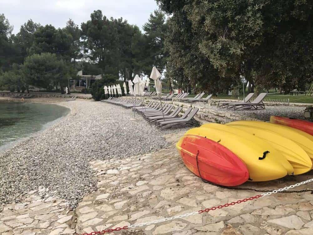 Beach area at the Kinderhotel Family Amarin Hotel, Rovinj, Croatia