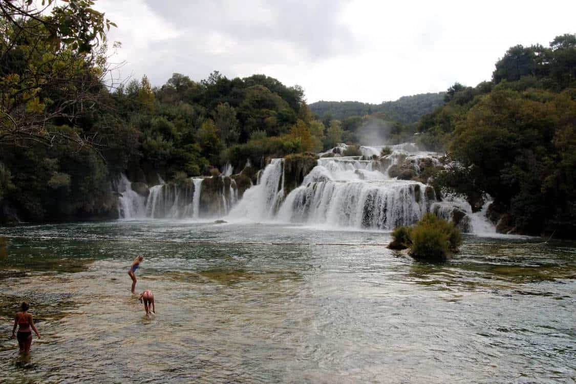 Krka National Park famous swim zone by the waterfalls.