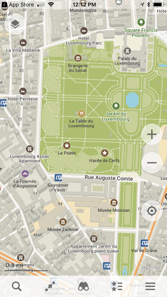 Maps.me image of Luxembourg Gardens in France