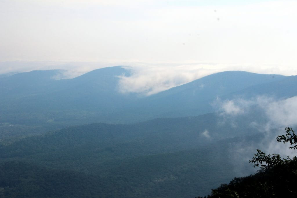 Shenandoah National Park rolling fog on skyline drive