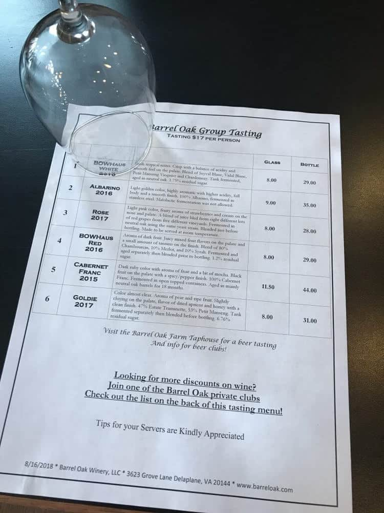 Barrel Oak Winery tasting menu