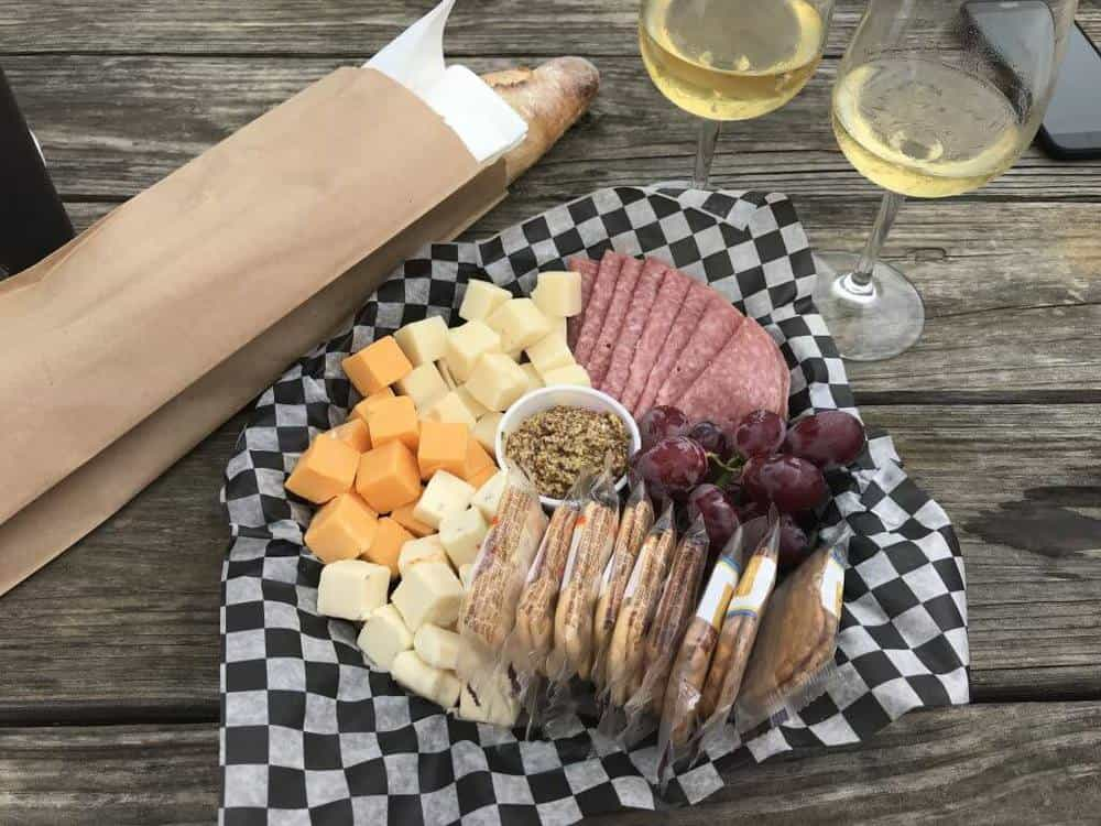 Barrel Oak Winery meat and cheese platter with warm baguette