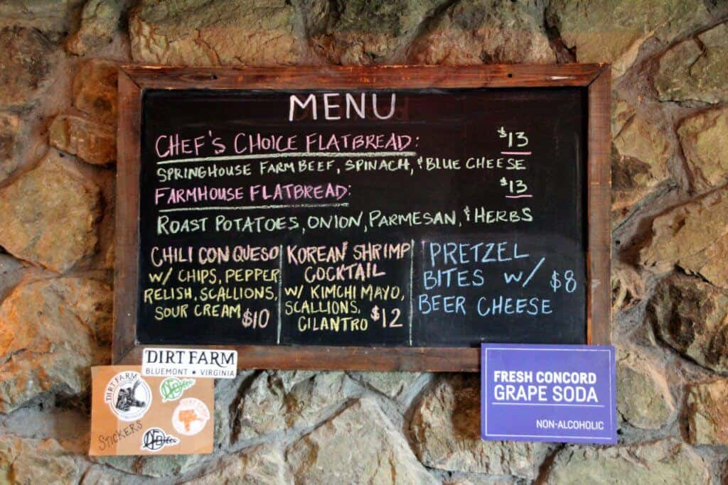 Dirt Farm Brewing | Blue Ridge Mountains | Menu