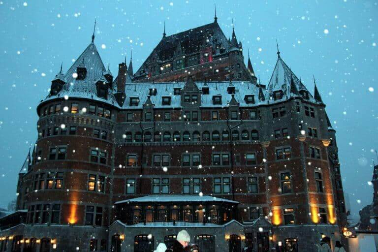 Château Frontenac during a snowfall in December
