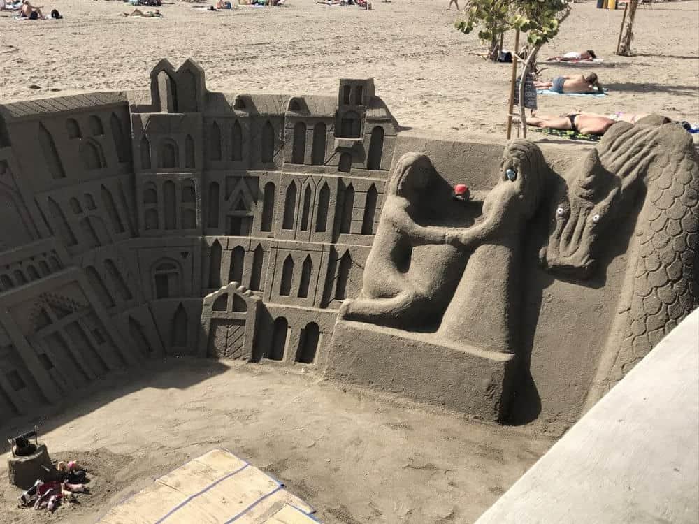 los cristianos beach with sandcastles